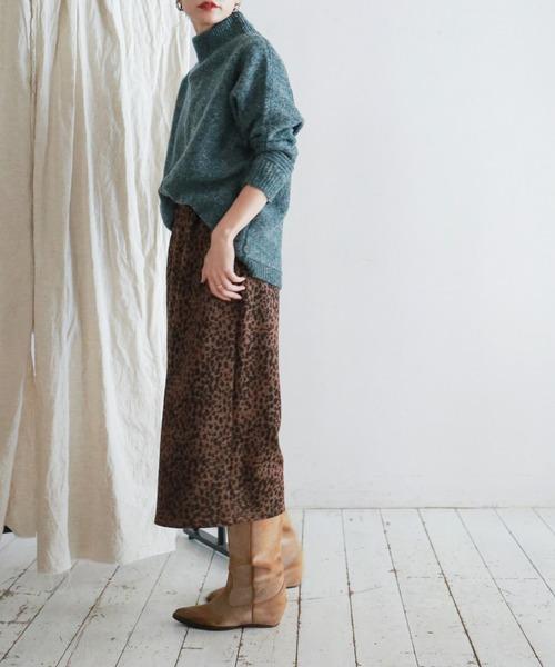 裏毛レオパードプリント タックタイトスカート