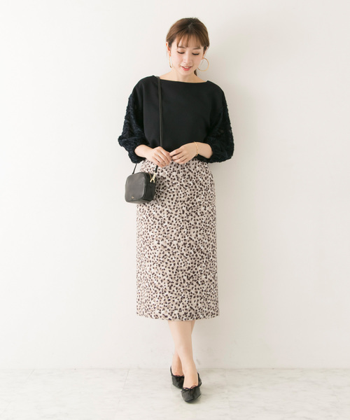 レオパードプリントジャガードスカート