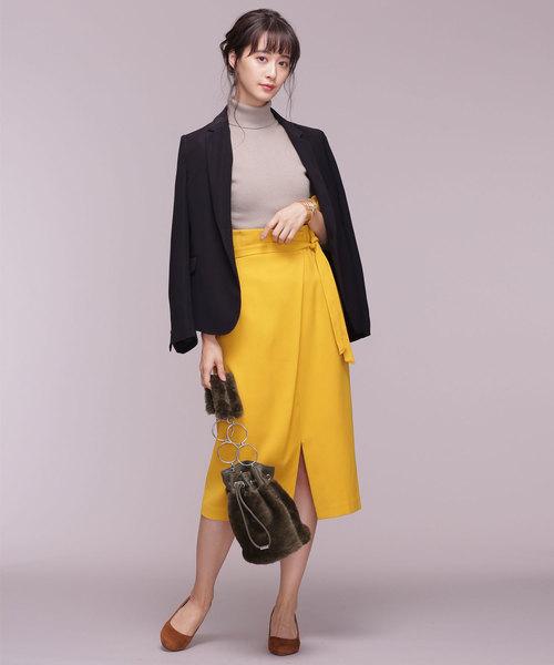 アシメタックベルト付きスカート1
