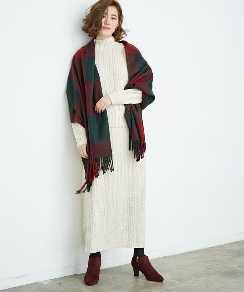 ケーブル編みスカート キナリ