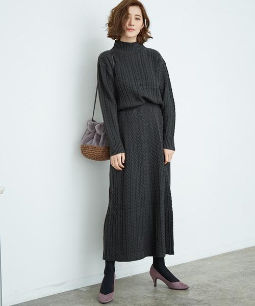 ーブル編みスカート ブラック系