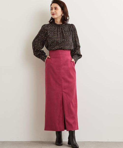 ピンクのロング・マキシ丈スカートを取り入れた大人コーデ