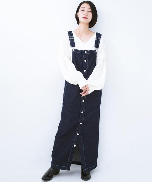 フロントボタンジャンパースカート