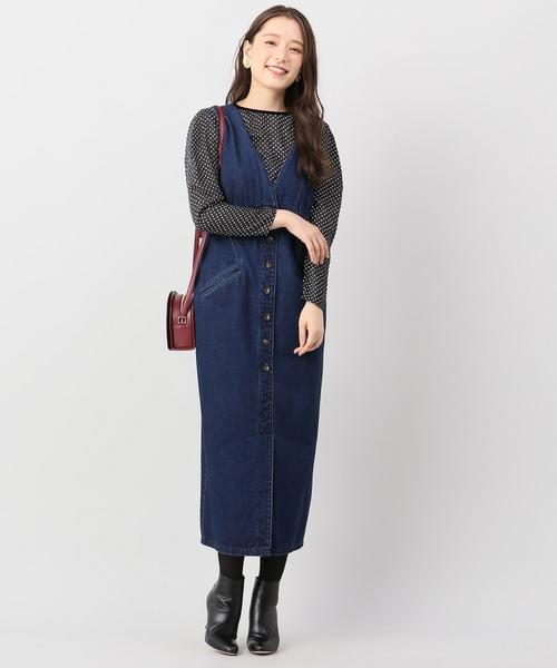 デニム前ボタンジャンパースカート◆