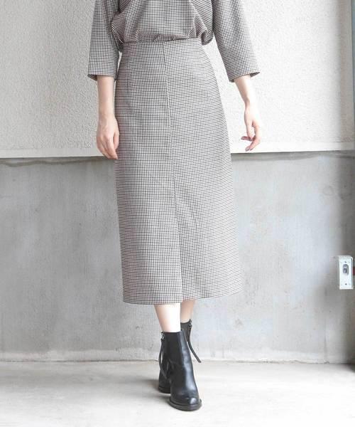 ストレッチチェックロングタイトスカート
