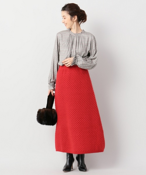 [IENA] THE IRON WOOL MOHAIR BLEND MIDI スカート◆