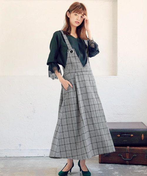 ハトメ金具デザインフレアジャンパースカート