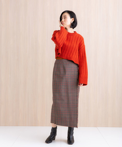 [PUBLIC TOKYO] グレンチェックタイトスカート
