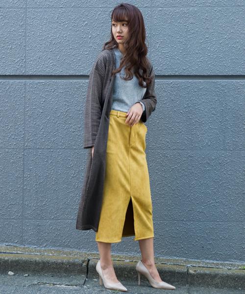 スエードボンディングタイトスカート