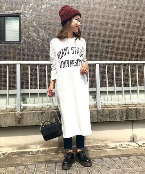 ロング丈Tシャツワンピース