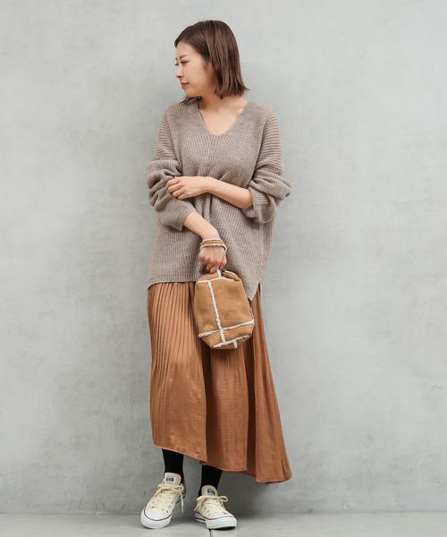 【2WAY】ヴィンテージサテンプリーツスカート