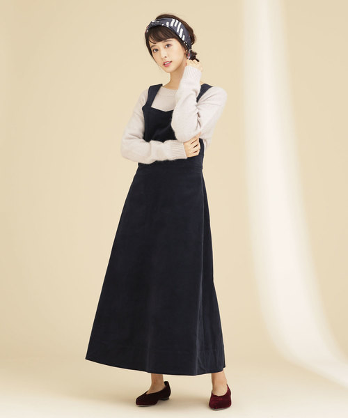 細コールフレアジャンパースカート
