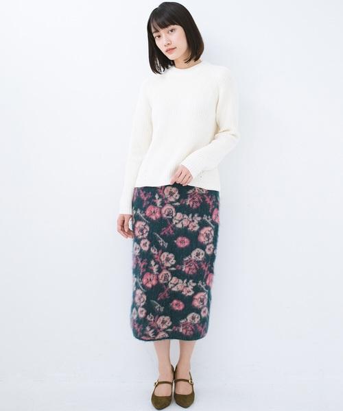 野ばら柄のジャカードニットスカート1