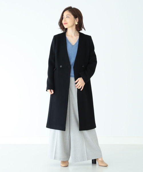 [BEAMS WOMEN] Demi-Luxe BEAMS / ノーカラー Vネックコート