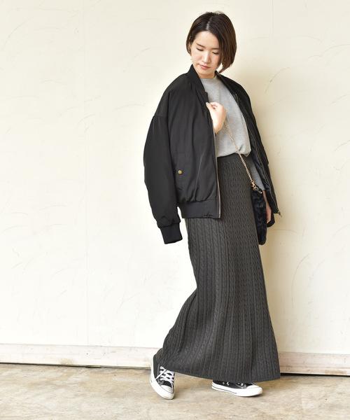 ケーブル編みロングニットスカート