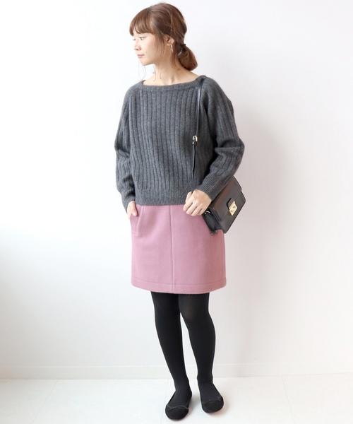 ピンクスエードミニタイトスカート