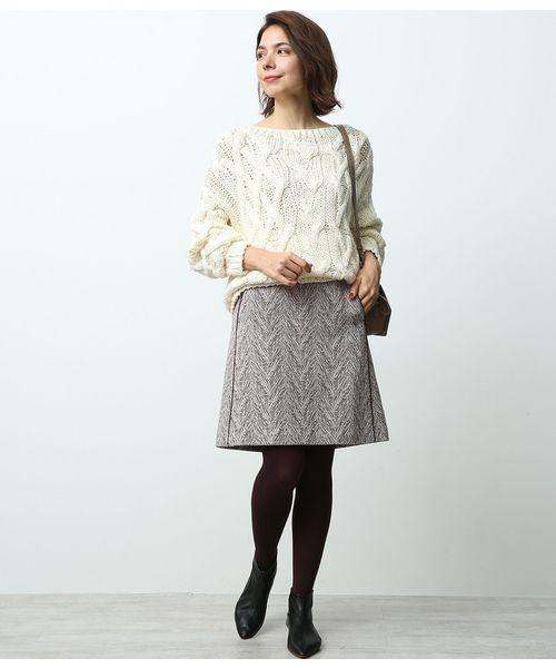 ヘリンボーンツィードミニスカート