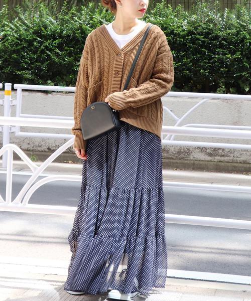 ざっくり編みが可愛い♡ケーブルニットカーデ
