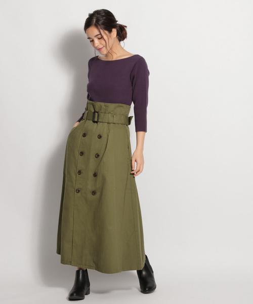 ツイルトレンチロングスカート