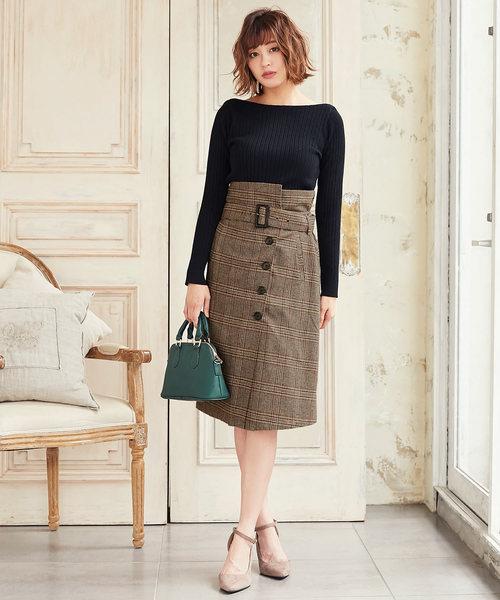 ハイウエストラップタイトスカート