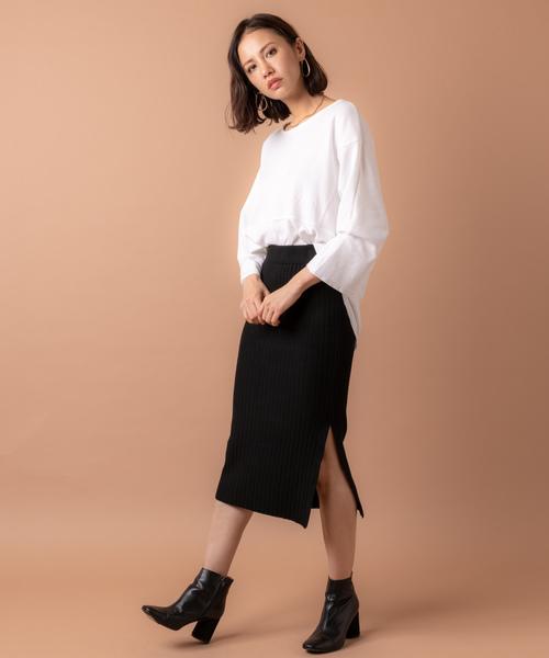 [Auntie Rosa] 【Holiday】スリットリブニットスカート