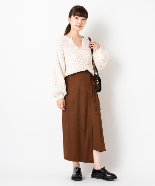 カラースウェードタッチスカート