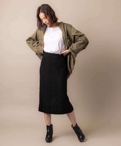 ケーブルニットタイトスカート・ブラック
