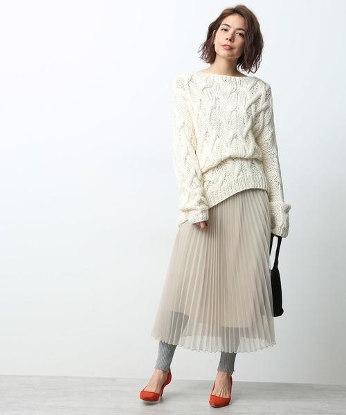 【ペチコート付き】シフォンオーガンジープリーツスカート
