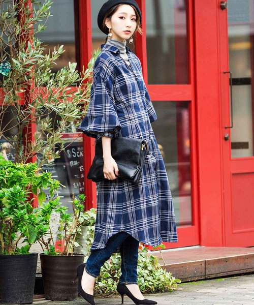 [Fashion Letter] スキッパー ボリューム袖 8分袖チェック シャツワンピース