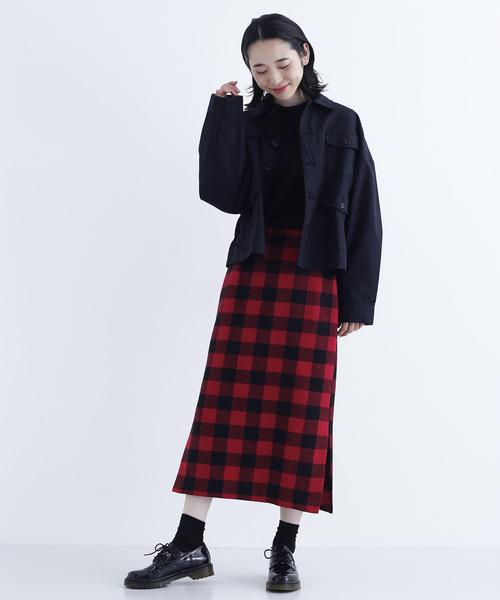 ブロックチェックスリットタイトスカート