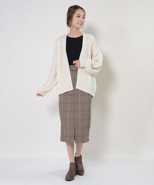 グレンチェックベルト付スカート