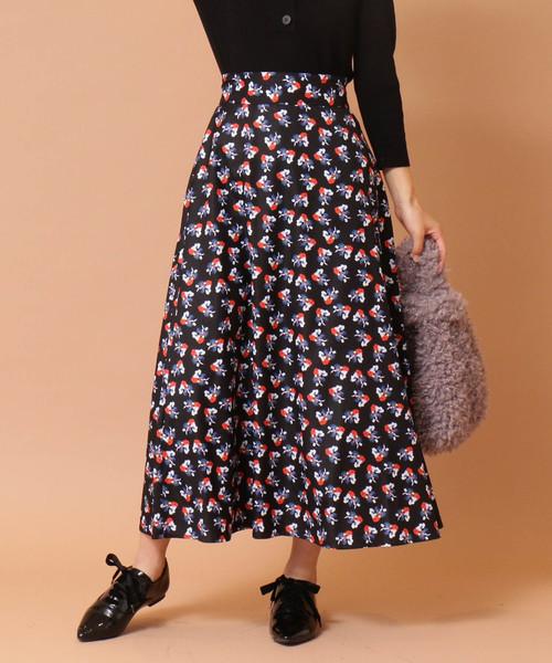 【natsu yamaguchi コラボ】花柄ミモレスカート
