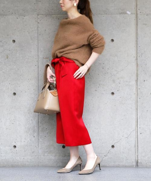 [Liesse] ウエストリボンサテンスカート