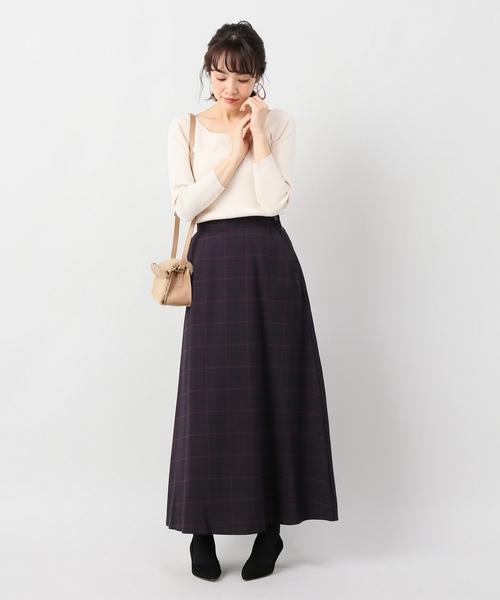 Seadrake チェックマキシフレアスカート【手洗い可能】