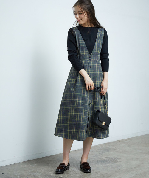 [ROPE' PICNIC] 【WEB限定】前釦デザインジャンパースカート