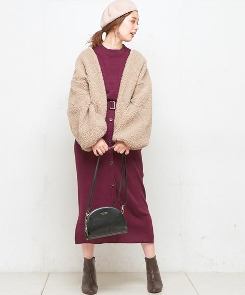 [natural couture] フロント釦リブニットスカート