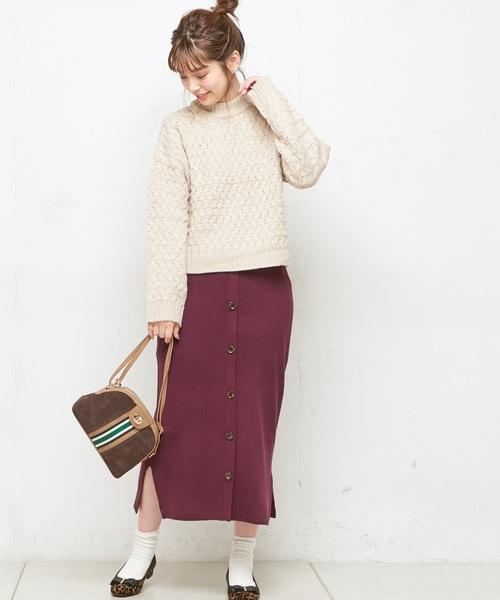 フロント釦リブニットスカート