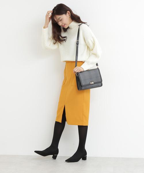 [N.(N. Natural Beauty Basic)] ダブルクロスフロントスリットスカート