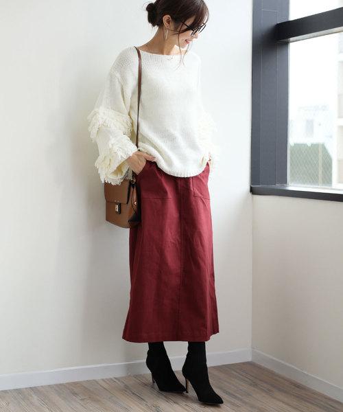 [and Me(アンドミー)] ストレッチツイル ベイカー フレアスカート チノ ロングスカート