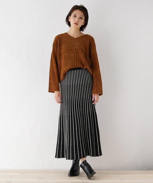 [OZOC] ロングプリーツニットスカート