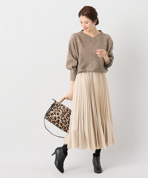 [La TOTALITE] サテンギャザープリーツスカート【手洗い可能】◆