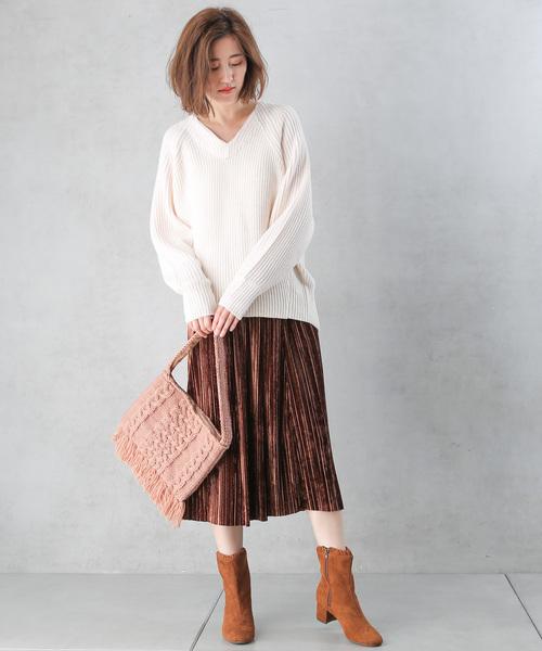 ベロアプリーツナロースカート