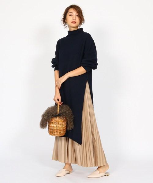 [aquagirl] プリーツミディ丈スカート