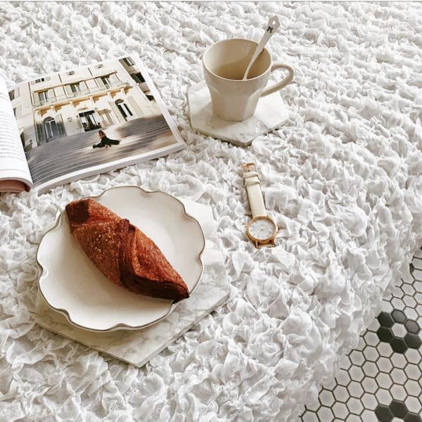 セリアのコーヒーカップ&手作りの大理石風トレー