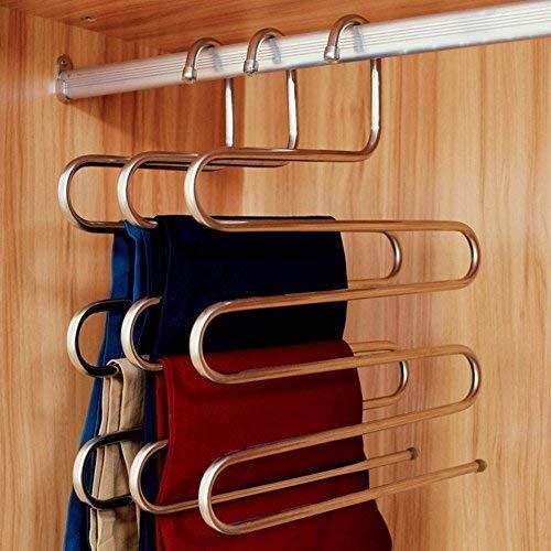 S字型 滑らない 服収納ハンガー ズボン ネクタイ スカート ベルト タオル収納用 金属 ステンレス45 ハンガー 衣類整理整頓 家居式 すべり落ちない (4本組)