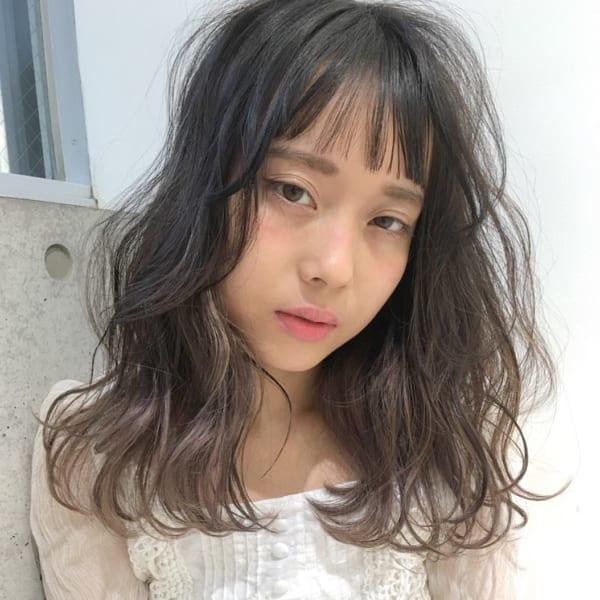 【ミディアム】前髪ぱっつん髪型集17
