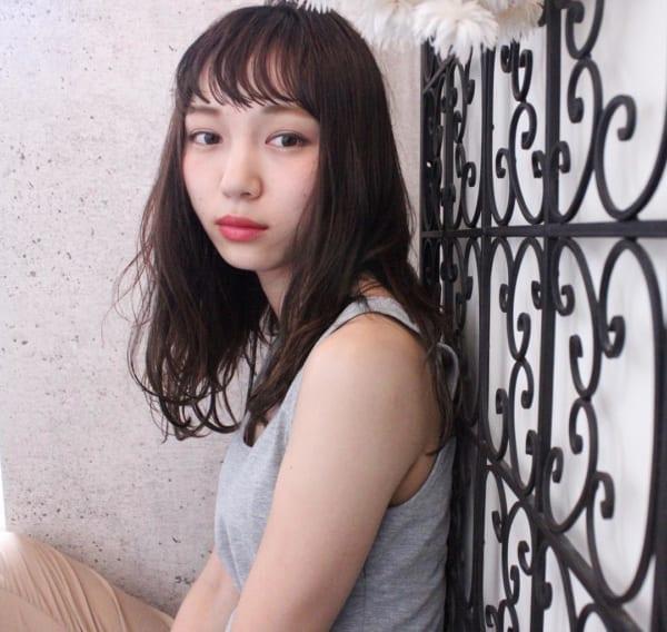【ミディアム】前髪ぱっつん髪型集22