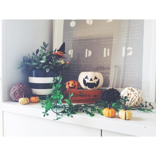 かぼちゃモチーフのアイテムをディスプレイ