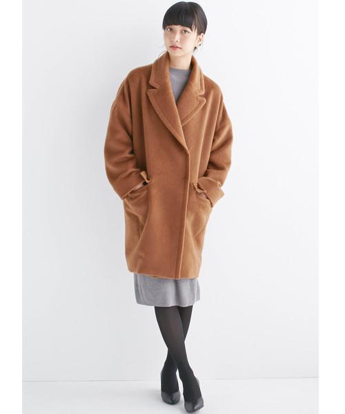 大きめ衿&ビッグシルエットで華奢見せしたい、ウール混フェミニンコート
