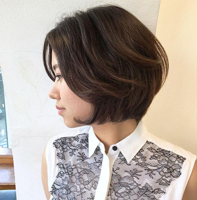 前髪なしのボブヘア6